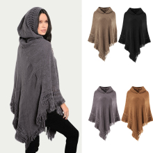 цены на Women Warm Knit Batwing Top Poncho Cape Batwing Cloak Cardigan Coat Sweater Casual Loose Irregular Hem Tassel Cloak  в интернет-магазинах
