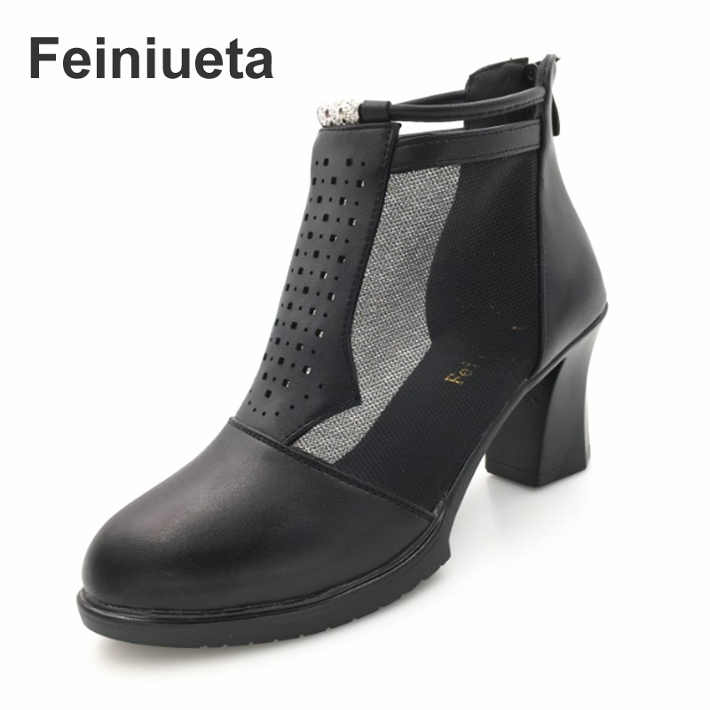 Feiniueta summer new female sandals leather women's network boots hollow high-heeled leather short boots fashion sandals women