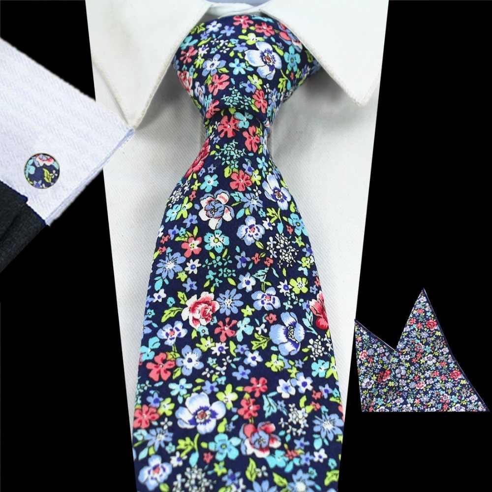 Cotton Tie for Men Navy Floral Necktie Printed Tie and Pocket Square Cufflink Set Wedding Party
