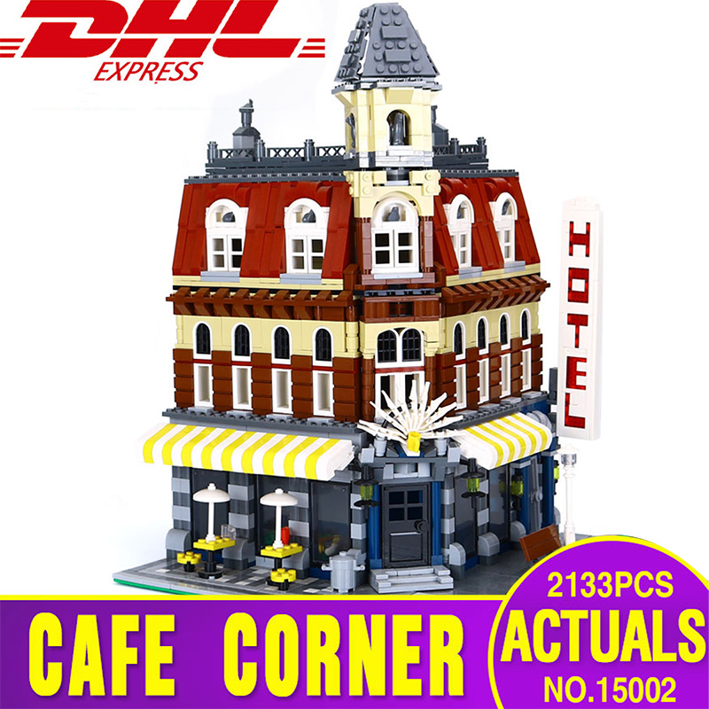 LEPIN 15002 New 2133Pcs Cafe Corner Model Building Kits Blocks Kid Toy Gift brinquedos Compatible  With 10182 Educational Toys lepin 22001 pirate ship imperial warships model building block briks toys gift 1717pcs compatible legoed 10210