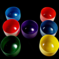 432HZ Chakra Set Of 7 Colored Frosted Crystal Singing Bowls All 8