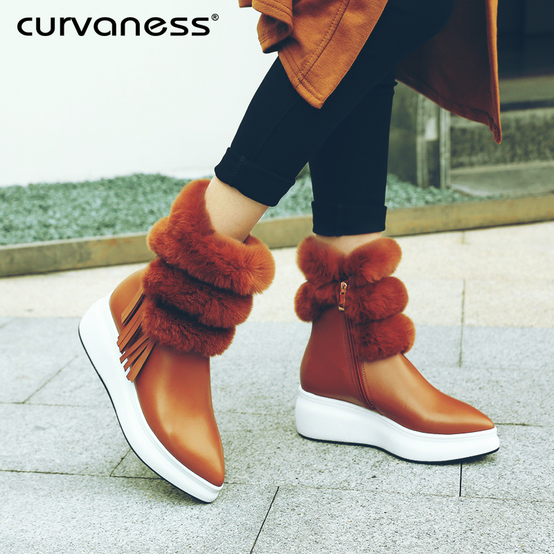 Curvaness Genuine Leather Rabbit Fur Shoes Woman Ankle Boots Zipper Wedges Winter Boots Pointed Toe Platform Footwear Female wetkiss 2018 genuine leather rabbit fur shoes woman ankle boots zipper wedges winter boots pointed toe platform footwear female