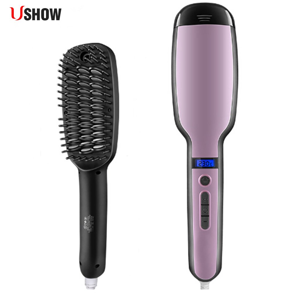 USHOW Digital Steam Hair Staightener Comb Iron Fast Heating Electric Straightener Brush Professional Straightening Irons цена