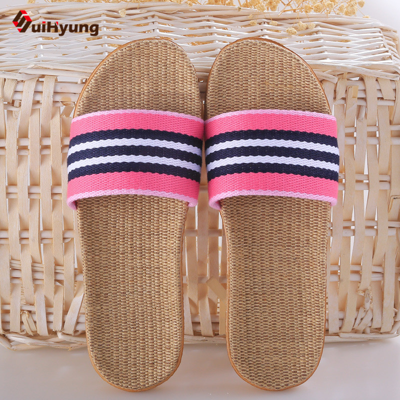 Suihyung Summer New Men Women Couple Slippers Breathable Linen Home Indoor Slippers Fight Color Stripes Non-slip Beach Slippers mashimaro new arrival men s linen slippers cotton fabric hemp slippers beach non slip indoor slippers men s fashion slippe