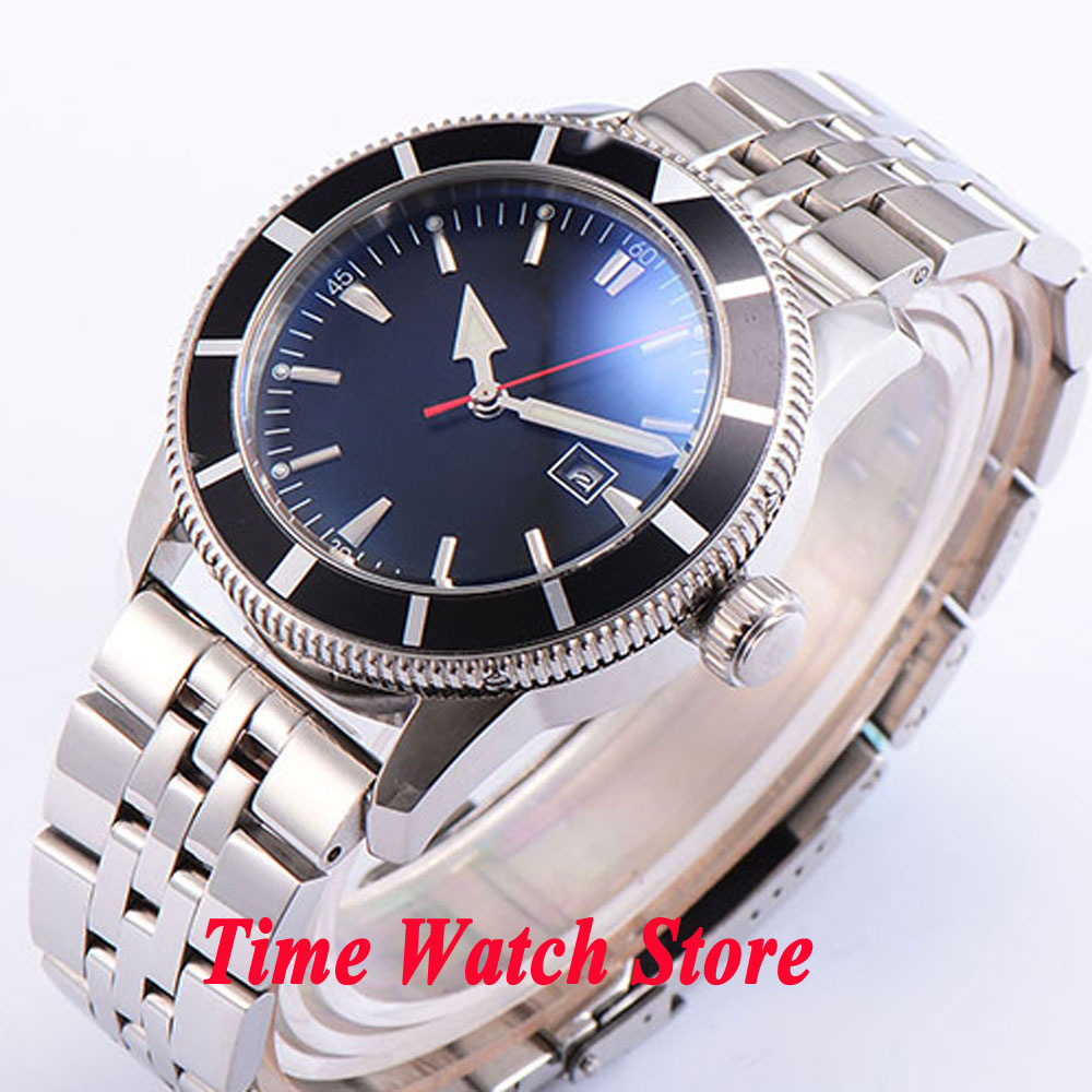 Bliger 46mm black sterial dial date luminous Stainless steel band deployant clasp Automatic men's watch BL90 цена и фото