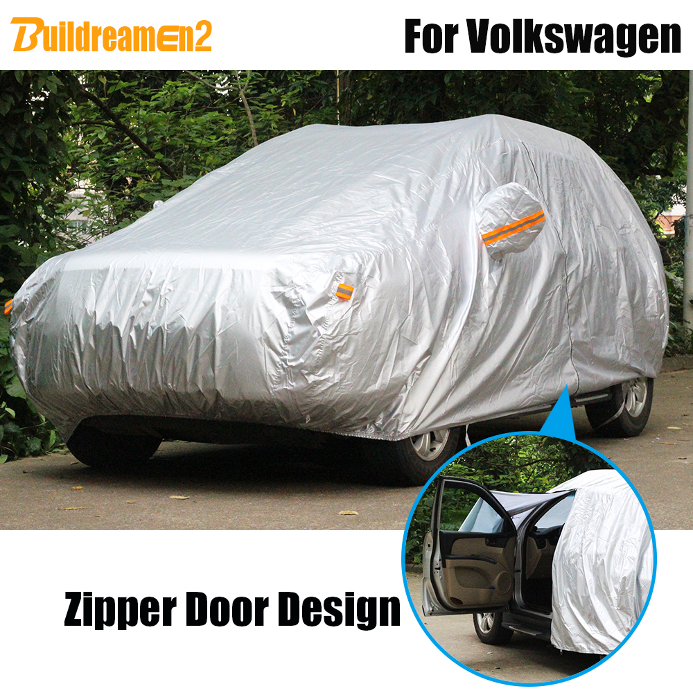 Buildreamen2 Car Cover Sun Rain Snow Dust Protection Cover Waterproof For Volkswagen Phaeton Beetle Caddy Tiguan
