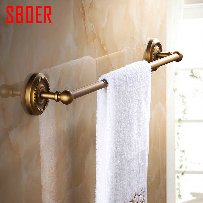 Antique Brass  single Towel Bar Rack Wall Mount Clothes Hanger bathroom accessories fixmee 50pcs white plastic invisible wall mount photo picture frame nail hook hanger