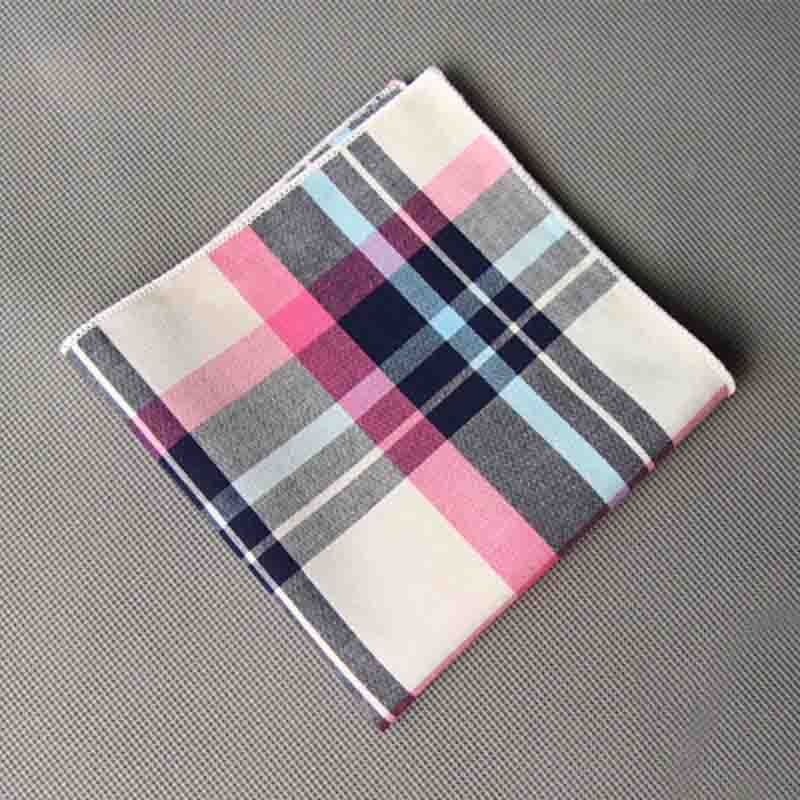 Mantieqingway Plaid Mens Pocket Towel Handkerchiefs Brand Cotton Pocket Square For Mens Suits Striped Handkerchief Wedding Gifts