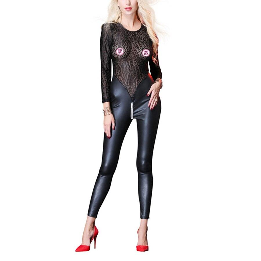 Sexy Women Lace Jumpsuit Latex Bodysuit Hot PVC Catsuit PU Bodysuits Erotic Bodycon Fishnet Faux Leather Rompers