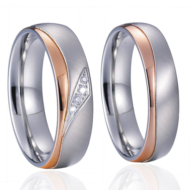 2018 Unique Wedding Band Engagement Rings Pair Rose love Gold Color ...
