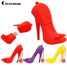 Pendrive Flash Card High Heels 4GB 8GB 16GB 32GB 64GB, Pendrives Cartoon Red Shoes USB Flash Drive USB Stick Pen Driver Gadget