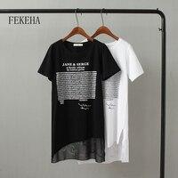 FEKEHA летние длинные футболка Для женщин письмо черный белая футболка пикантные короткий рукав тонкий Для женщин хлопок женские футболки фут...