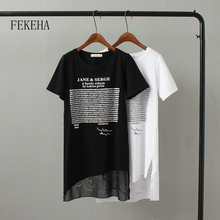 FEKEHA Summer Long T shirt Women Letter Black White T-shirt Sexy Short Sleeve Thin Women Cotton Tops Tees Female Tshirt
