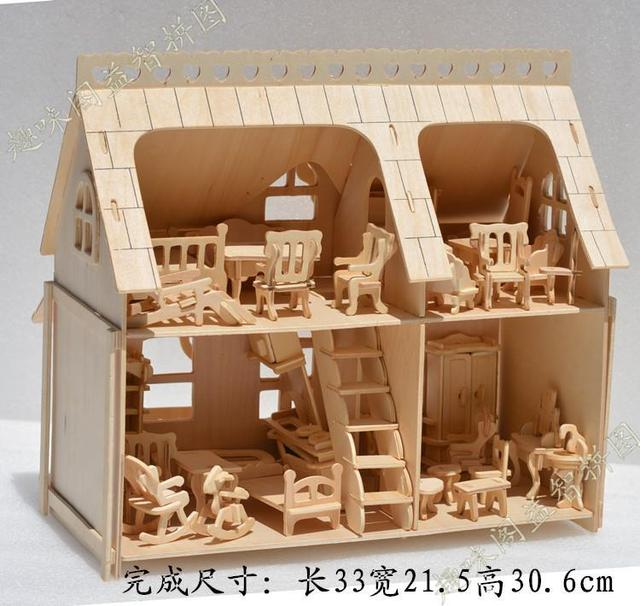 Holzmöbel Modell Puppen Haus 1:24 Skala DIY Hölzernes Puppenhaus Handwerk  3D Miniatur Kits U0026