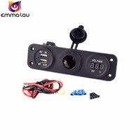 3 Liman Çift USB Araç Şarj Adaptörü Çakmak Soket fiş Dijital LED Voltmetre 12 V 24 V Gerilim Metre Monitör Araba DIY
