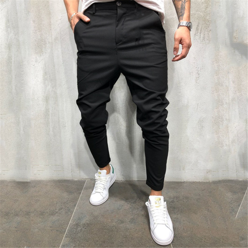 Feitong Solid-Trousers Sweatpants Streetwear Casual Fashion Slim for Men Bandage Drawstring