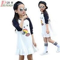 Girls Mini Dress 2017 Brand Children Tennis Dresses Long Sleeve Vestidos Summer Cotton Fashion Party Dresses