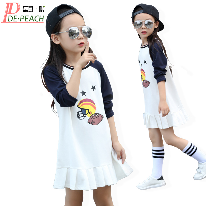 Girls Mini Dress 2017 Brand Children Tennis Dresses Long Sleeve vestidos Summer Cotton Fashion Party Dresses Kid Sports Clothes azel elegant latest new child dress for 2 3 year old girls vestidos fashion summer kid clothing little girls daily clothes 2017