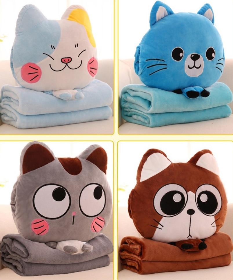 Cushion Blanket Pillow Multi-function Blankets Cartoon Cat 110x160cm Coral Fleece Plush Child Adult Sofa Bed Home Car Decor B238