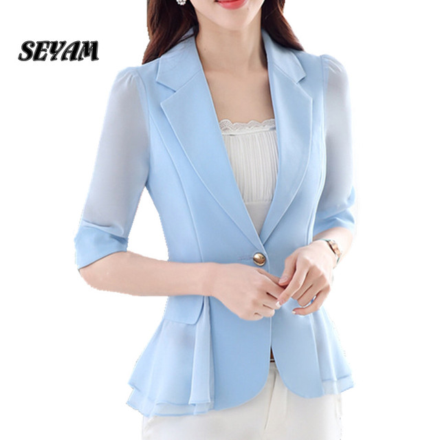 SEYAM S-3XL Plus Size Senhoras Blazers Jacket Meia Manga Elegante Escritório Blazer para As Mulheres Primavera Outono Roupas ow0253
