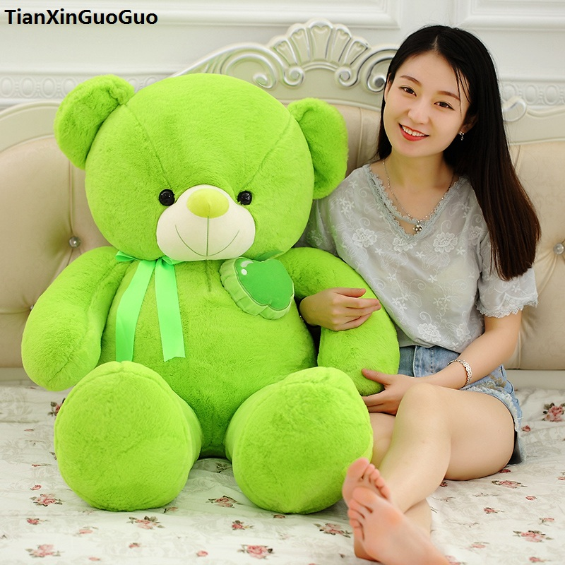 stuffed toy Large 115cm green teddy bear plush toy fruit apple design bear soft doll throw pillow birthday gift s0911 1 piece light brown high quality low price stuffed plush toys large size100cm teddy bear 1m big bear doll lovers birthday gift