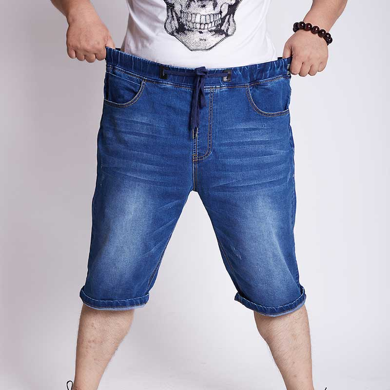 Men s High Waist Denim Shorts Drawstring Stretch Loose Straight Short Jeans Plus Size M 5XL