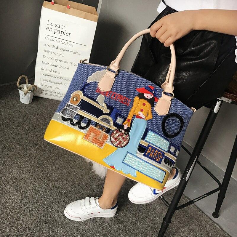 Main Sac noir bleu Beige Emballages Femme Messenger Style Train 3d Lady Sj Puzzle Artisanat Femmes À Toile Épaule Braccialini Broderie Sacs nqRUxH8Yw