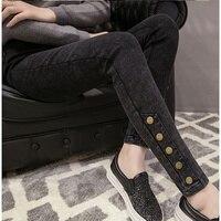 Fashion Jeans Pants Sexy Slim Mid Waist Fleece Leggings Black Blue Buttom Warm Leggings For Women Girls Legging Push Up D088