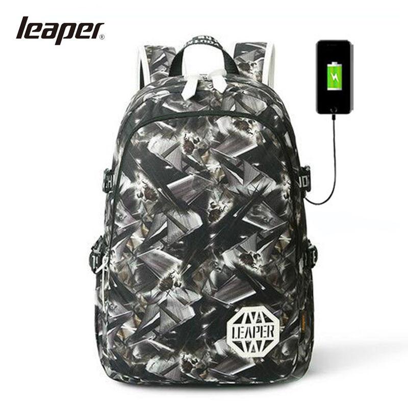 LEAPRE Men Backpack USB Charging Laptop Camouflage Printing Backpack Student Backpack School Bags For Teenagers College Bag 2017 markryden men backpack student school bag large capacity trip backpack usb charging laptop backpack for14inches 15inches