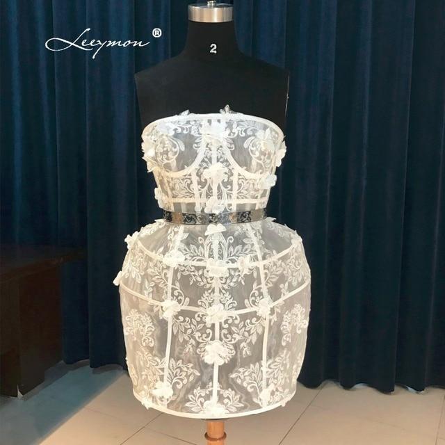 Leeymon Sexy Sheer Mini Short Cocktail Dress 2017 Hot Sleeveless White Lace Cocktail Dress Robe Cocktail CC01 1
