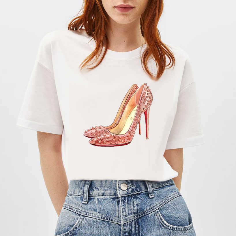 2019 ווג Slim נקבה חולצות עבור בנות נשים חולצה גבוהה עקבים נעלי ורוד פרחוני Bowknot נשים לבן Tshirts ליידי בציר