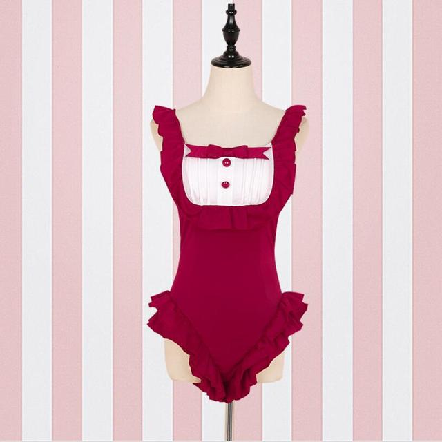 f674d7f57f Cat maid Swimsuit Lolita Swimwear Kawaii Cosplay Bathing Suit Su ku water Falbala  One-piece school Swimming Jumpsuit Beachwear