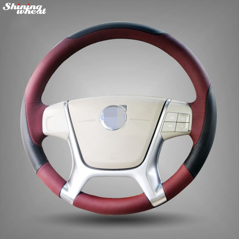 Shining wheat Black Chocolate Leather Car Steering Wheel Cover for r for Volvo S80 2010 XC60 2010-2013 XC70 2011