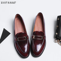 2019 Spring New genuine leather Oxford shoes women flats slip on Shallow Female flat Dress shoes soft moccasins loafers shoes