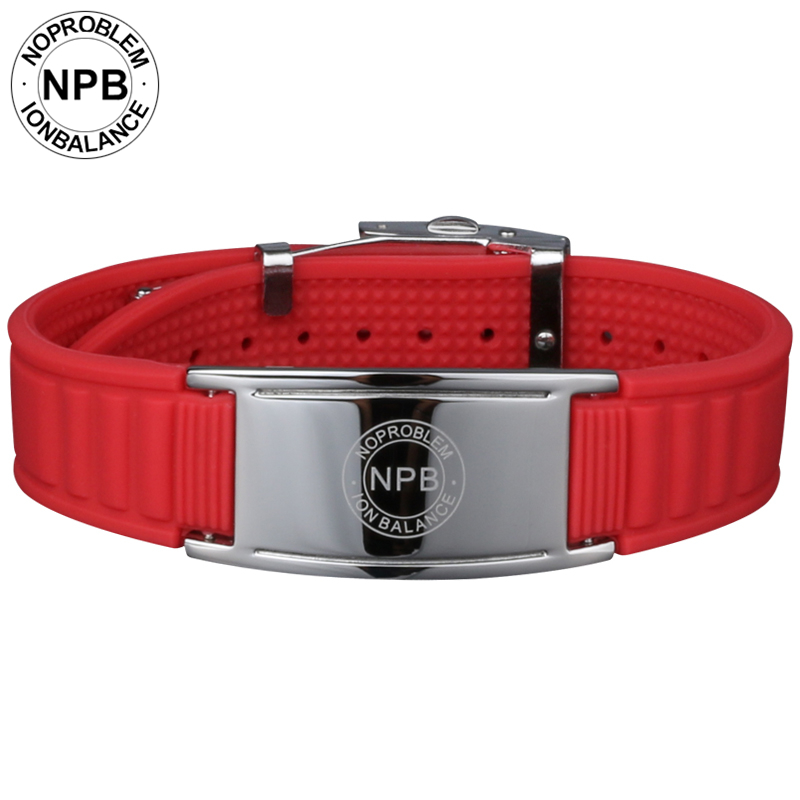 Noproblem 035 antifatigue Ion balance magnets hologram power therapy silicone adjustable tourmaline germanium wristband bracele