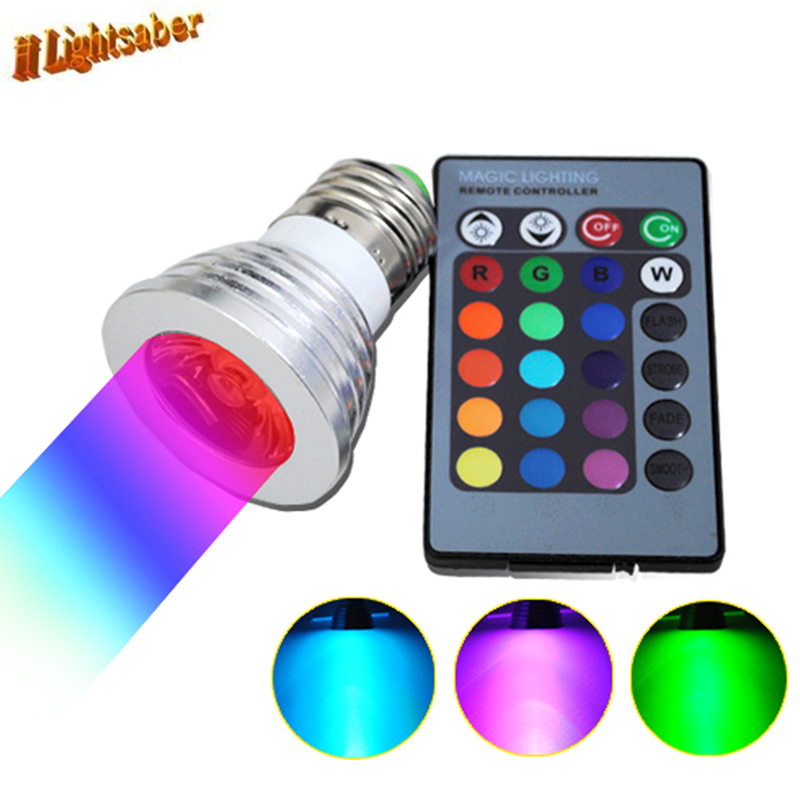 Lightsaber 3W E27 E14 GU10 MR16 RGB LED Bulb 16 Color Spotlight IR Controller AC85-265V DC12V Led Spot Lamp for Party Decoration