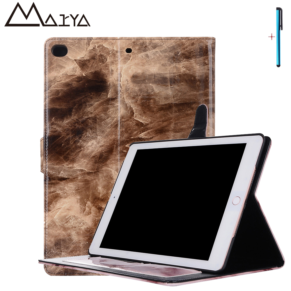 Case For iPad 2017 Tablet Cover Smart Sleep Ultra Thin Light Weight PU Leather Case For iPad 2017 9.7 inch Marble Pattern Coque ultra thin smart flip pu leather cover for lenovo tab 2 a10 30 70f x30f x30m 10 1 tablet case screen protector stylus pen