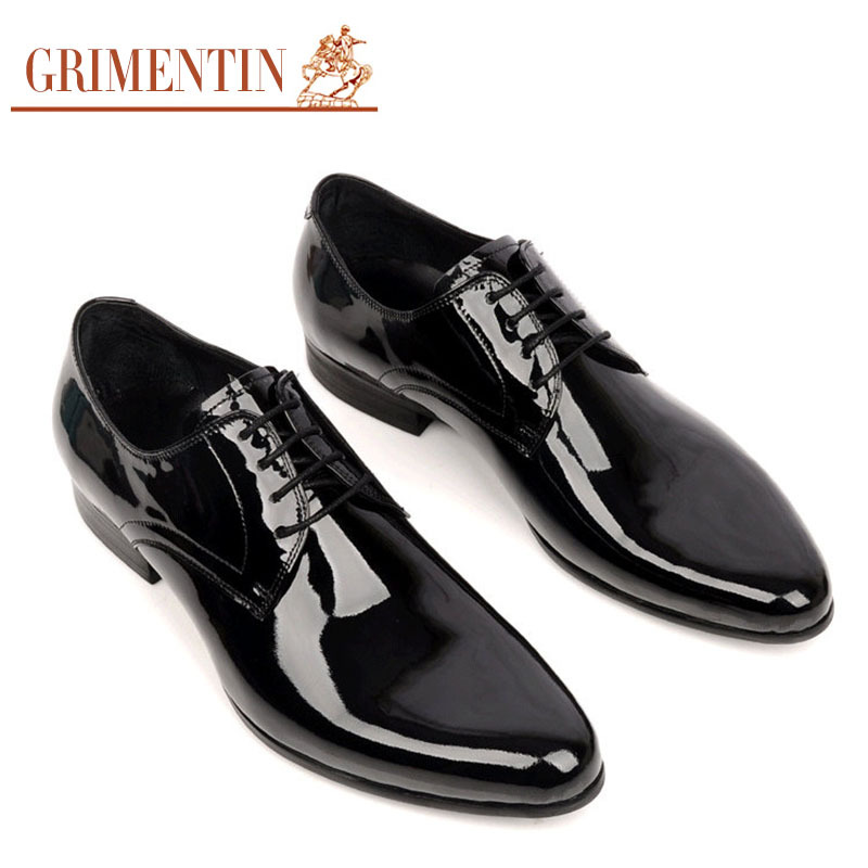 Grimentin Men Wedding Shoes Genuine Leather Black Lace Up