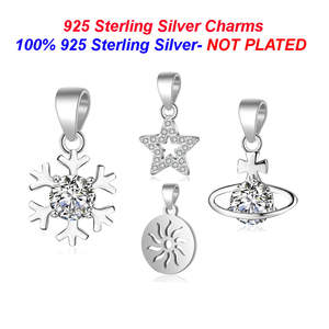 Vnistar 100%925-Sterling-Silver Snowflake Necklace Charm Pendants for Women Planet of