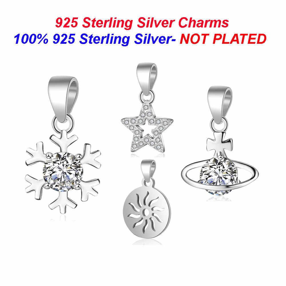 100% 925 ayar gümüş kar tanesi charms kadınlar için kolye Vnistar güneş yıldız Charm kolye yıldız gezegen takılar kolye