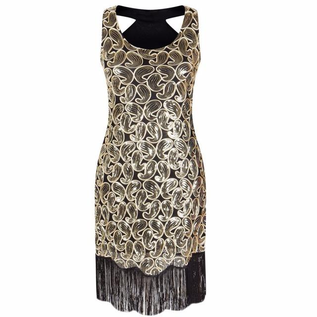 Black Gold Sequin Fringe Great Gatsby Dress