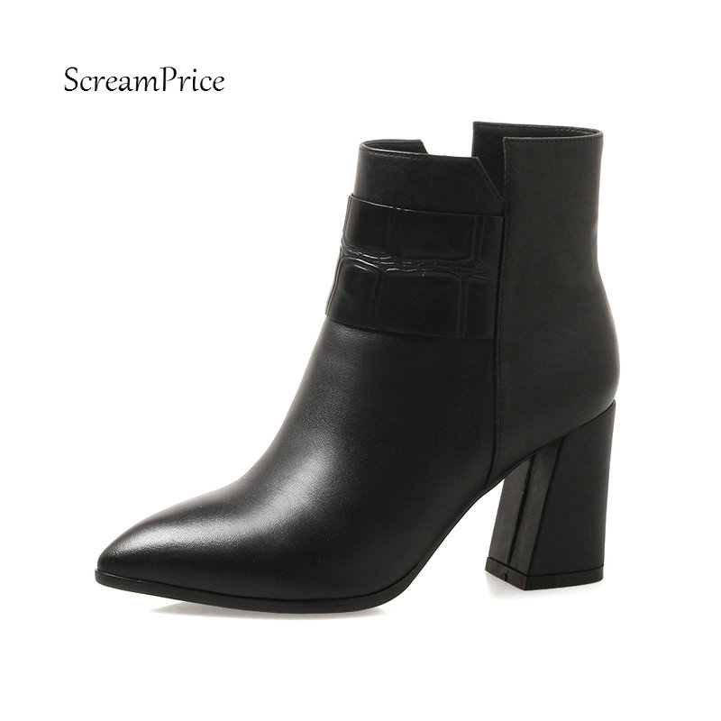 Female Genuine Leather Square Heel Ankle Boots Fashion Zipper Pointed Toe Women Fall Winter Bootie Black Red цены онлайн