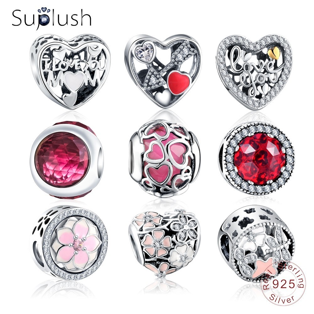 Dropshipping Suplush Bead Charm with Authentic 100% 925 Sterling Silver Fit Pandora Original Charms Bracelet Women Jewelry gift(China)