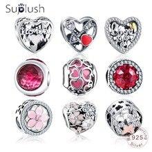 Подвеска из бусин Suplush с подлинным 925 пробы, серебро, Подходит для Pandora, очаровательный браслет для женщин, сделай сам, ювелирное изделие, подарок