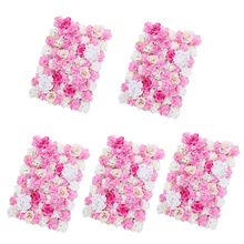 5 Pieces Removable Artificial Flower Wall Panel Wedding Decor Photo Props Hot Pink