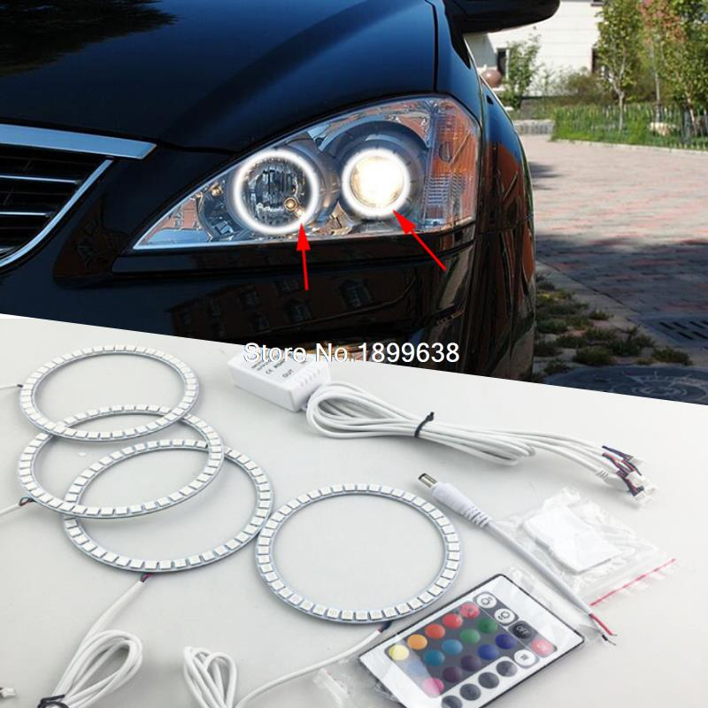 Super bright 7 color RGB LED Angel Eyes Kit with a remote control car styling For SsangYong Kyron 2007 2008 2009 2010 2pcs super bright rgb led headlight halo angel demon eyes kit with a remote control car styling for ford mustang 2010 2012