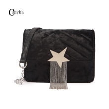 CUMYKA Small Flap Tassel Bags For Women 2019 New Star Chain Velvet Fashion Shoulder Crossbody Bag Mini Vintage PU Corduroy Lady