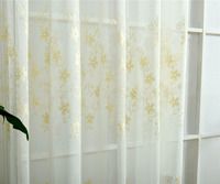 Embroidered Curtain White Coffee Grey Beige Floral Flower Voile Curtain Romantic Curtain Living Room European American