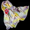 100% Silk Scarf Women Scarf Hand Painted Peony Silk Bandana 2017 Top Silk Hijab Big Square Silk Scarf Hot Luxury Gift for Lady