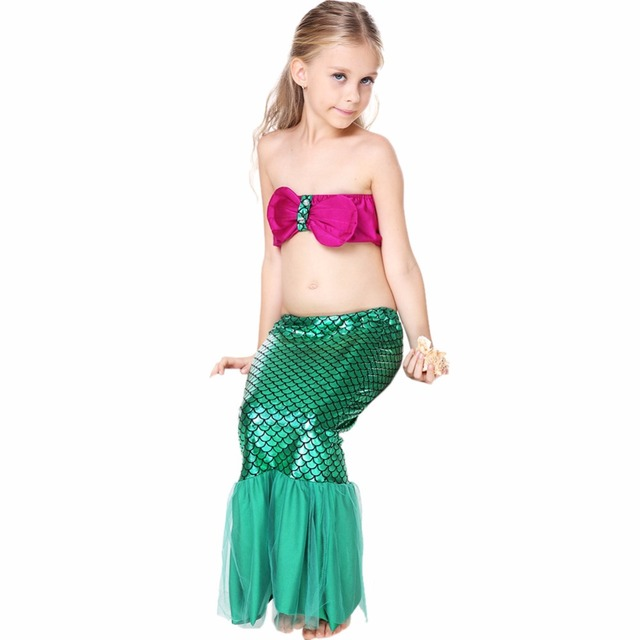 cheap halloween costumes idea for girls 3 pcs bikini and mermaid tail set little mermaid costume
